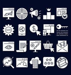 search engine optimization icon set in simple vector image