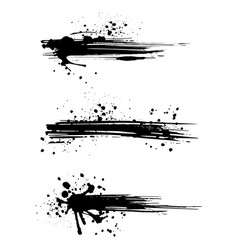 set abstract ink splashes paintbrush blots of vector image