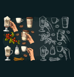 Set coffee glass latte hand hold cup branch vector
