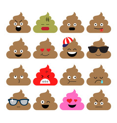 Set of cute poop happy poop emoji emotional vector