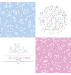 Set of design elenments of baby theme vector
