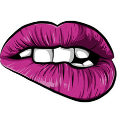 Sexy woman cartoon mounth with pink lips vector