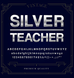silver or chrome metallic font set letters vector image