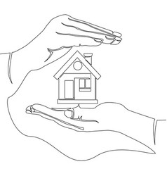 Single continuous line home protection concept vector