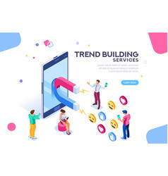 social media concept flat isometric vector image