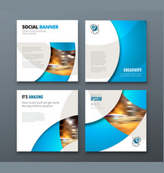 square banner templtes with circles and shapes for vector image
