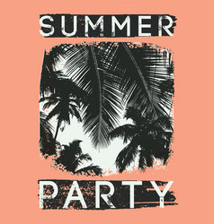 Summer tropical party typographic vintage poster vector