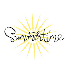 Summertime - handwritten lettering word vector