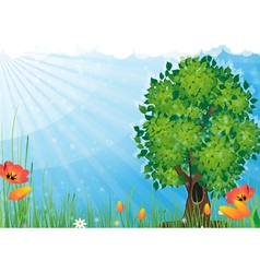 Tree in the meadow vector image
