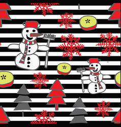 trendy christmas pattern with snowman vector image