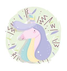 unicorn rainbow horn memphys fantasy magic cute vector image