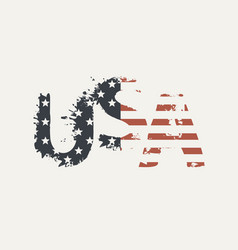 Usa letters in colors us flag in grunge style vector
