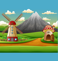 Windmill building and the mushroom house with a mo vector