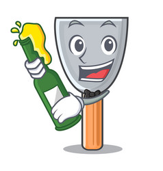 With beer vintage putty knife on mascot vector