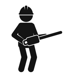 Worker chainsaw icon simple style vector