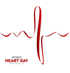 World heart day card of red heartbeat line vector