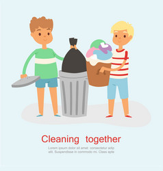 Young cartoon children helping with garbage vector