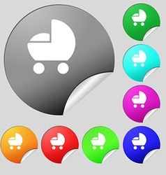 baby pram icon sign Set of eight multi colored vector image