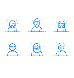 blue icon set in flat line vector image