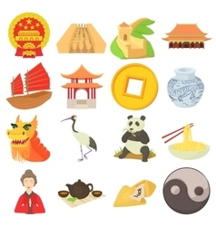 China travel sport icons set cartoon style vector image vector image
