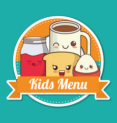 kids menu breakfast nutrition kawaii design vector image