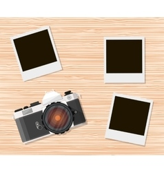 Retro old camera and instant photo frames vector image