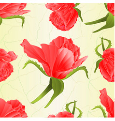 seamless texture pink rose and leaves vintage vector image
