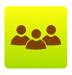 team work sign brown icon at green-yellow vector image vector image