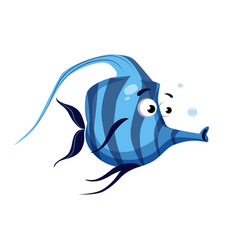 tropical blue striped fish with a long nose sea vector image vector image