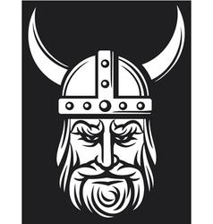 viking mascot cartoon with horned helmet vector image