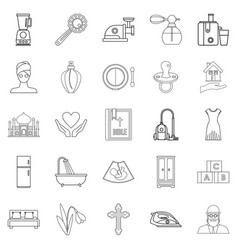 bridal icons set outline style vector image