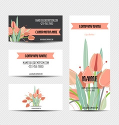 Business card with flower templates vector image
