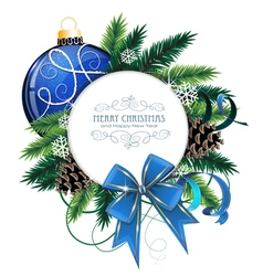 Christmas card with blue bauble vector image vector image