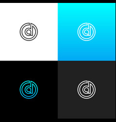 logo d in circle linear logo of the letter d vector image