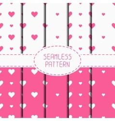 Set of pink romantic geometric seamless pattern vector image vector image