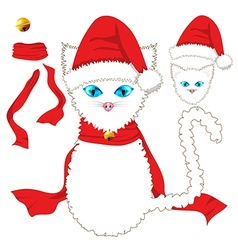 White cat christmas day vector
