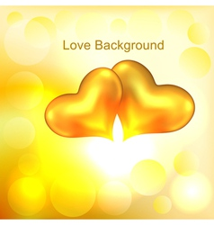 Background with two gold hearts vector image