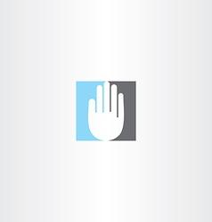 blue black human hand icon logo vector image