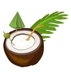 Coconut cocktail with straw umbrella and olive vector image
