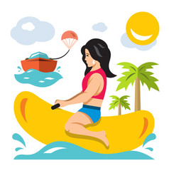 girl ride a banana boat flat style vector image vector image