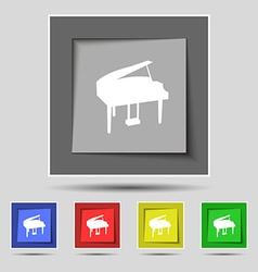 Grand piano icon sign on original five colored vector