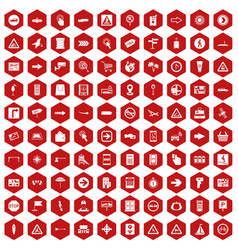 100 pointers icons hexagon red vector image vector image