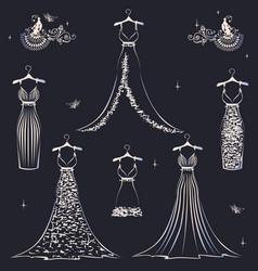 beautiful wedding dress set vector image vector image