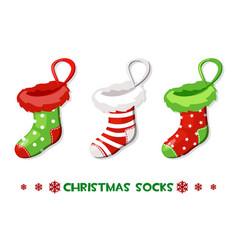 cartoon christmas socks new year symbols vector image