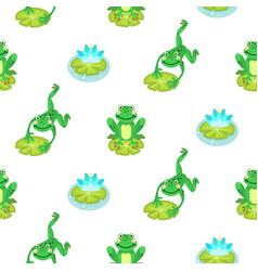 frogs cartoon green seamless pattern vector image