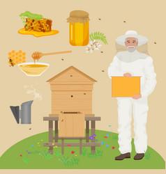 Man beekeer in special uniform costume Apiary vector image vector image