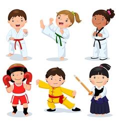 Martial arts kids Children fighting judo taekwondo vector image