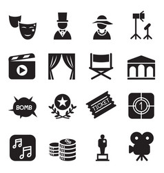 movies icons set vector image