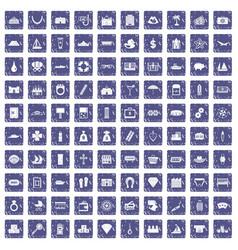 100 wealth icons set grunge sapphire vector