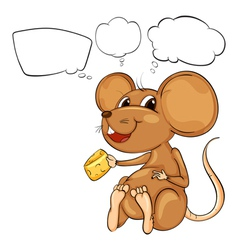 A rat holding a cheese with empty callouts vector